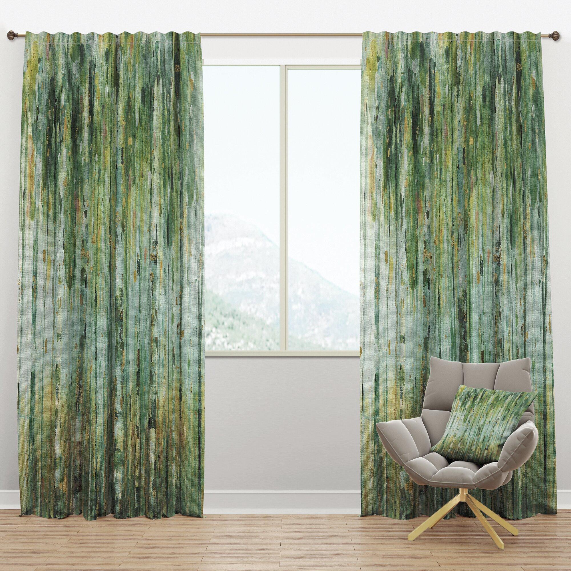 Designart The Birch Forest Ii Abstract Semi Sheer Thermal Rod Pocket Curtain Panel Wayfair