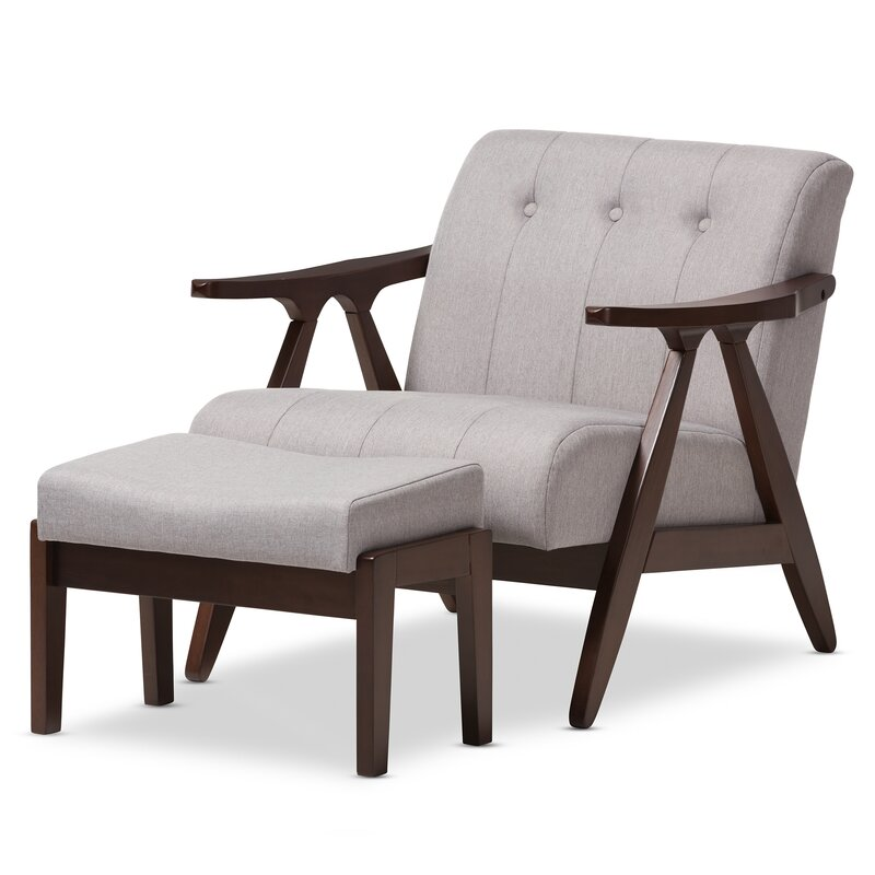 Enrico Mid Century Modern Lounge Chair And Ottoman