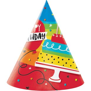 Rainbow Cake Hat Paper Disposable Party Favor (Set Of 24) by Creative Converting New