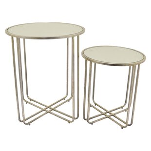 Lansdown Metal Mirror Top End Table (Set of 2)