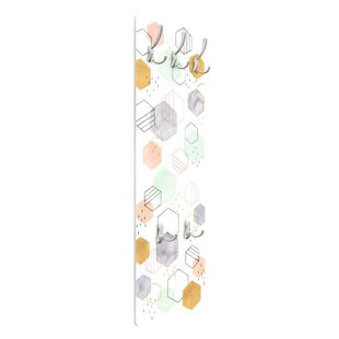 Scattered Hexagon I Wall Mounted Coat Rack By Symple Stuff