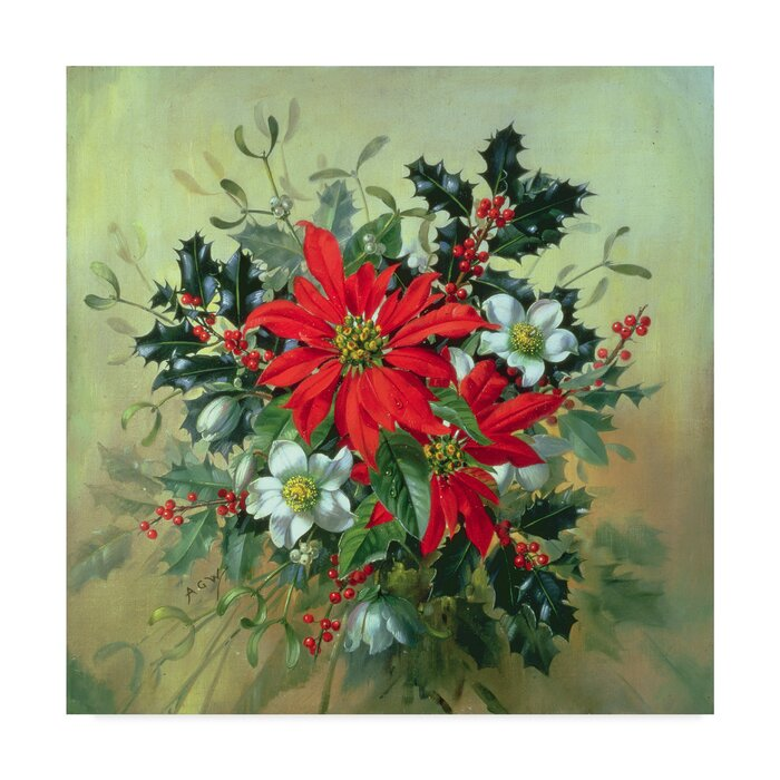A Christmas Arrangement.A Christmas Arrangement Oil Painting Print On Wrapped Canvas