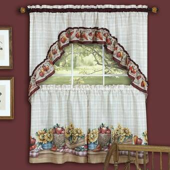 August Grove Gironde Vegetable 3 Piece Kitchen Curtain Set Wayfair