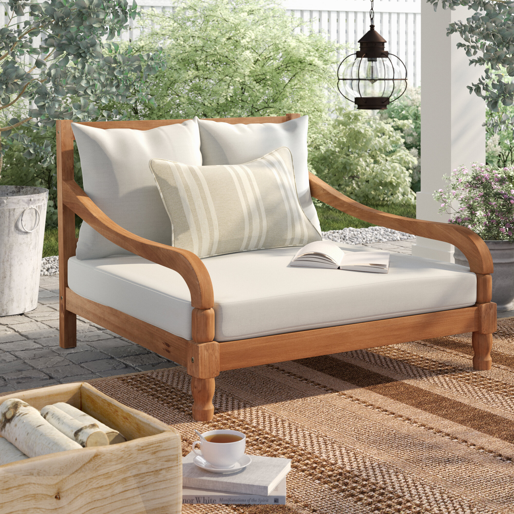 Birch lane heritage wiest patio daybed with cushions reviews birch lane