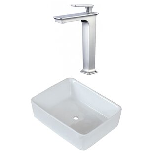 Above Counter Ceramic Rectangular Vessel Bathroom Sink with Faucet ByRoyal Purple Bath Kitchen