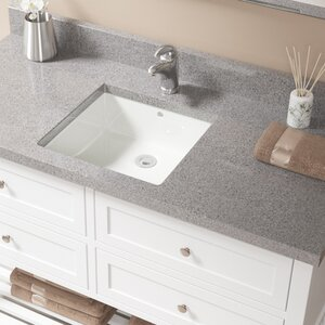 MR Direct Porcelain Square Undermount Bathroom Sink With Overflow