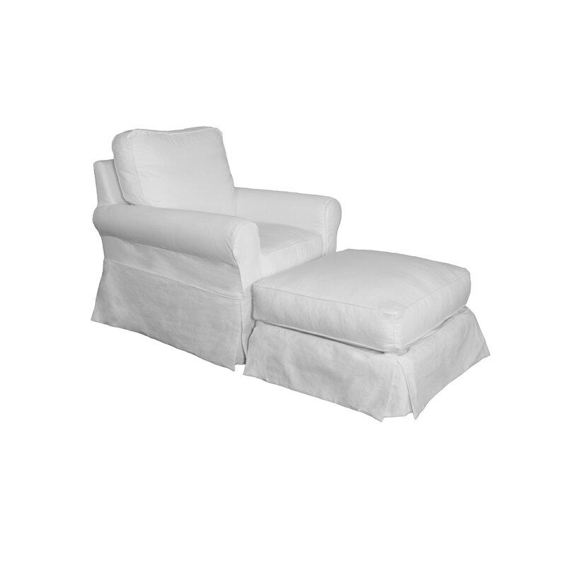 Box Cushion Armchair And Ottoman Slipcover