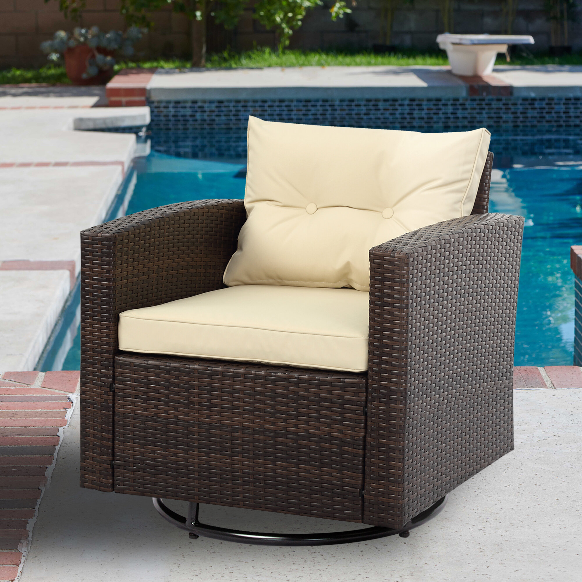 Brilliant Arlington Swivel Patio Chair With Cushions Ncnpc Chair Design For Home Ncnpcorg