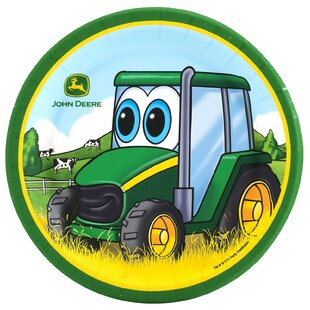 John Deere- Johnny Tractor Paper Disposable Dessert Plates (Set of 8)