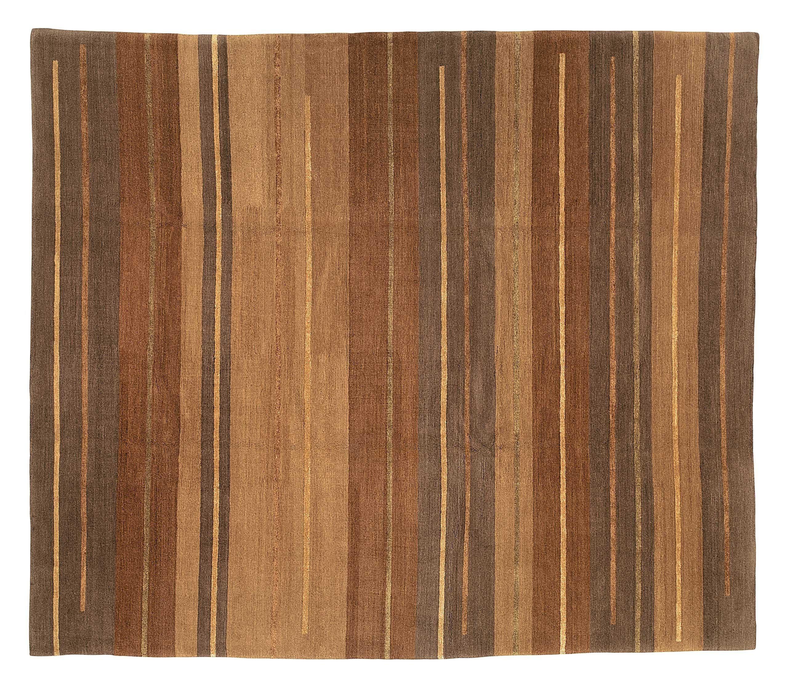 Tufenkian Striped Hand Knotted Wool Silk Brown Area Rug Wayfair
