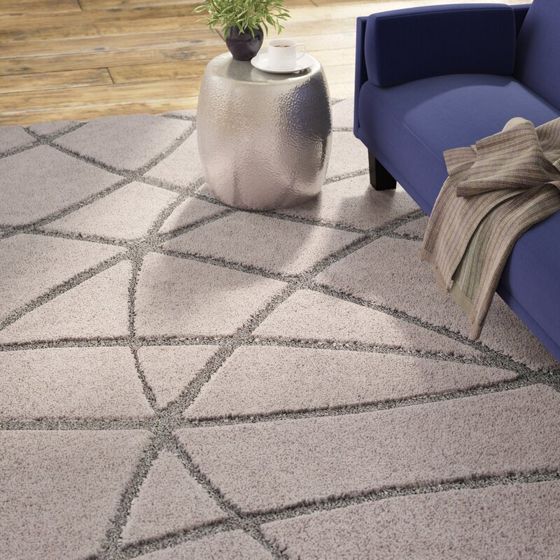 Wrought Studio Marketfield Soft Abstract Modern Shag Gray