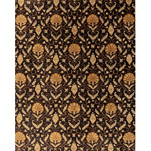 Buy luxury Edison Floral Handmade Wool Black Area Rug ByCanora Grey