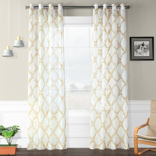 Romane Printed Faux Linen Polyester Single Curtain Panel by August Grove