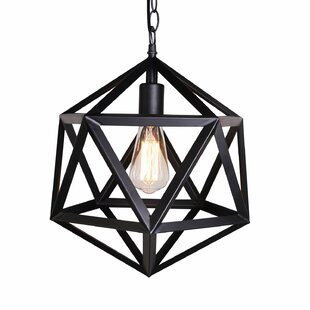 Price comparison Metal Cage 1-Light Geometric Pendant By Unitary