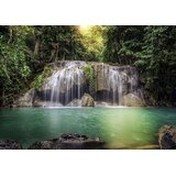 Rock Waterfall Mountain Lake in the Forest 11.8' L x 106 W Wall Mural by East Urban Home