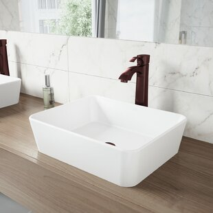 VIGO Matte Stone Rectangular Vessel Bathroom Sink with Faucet VIGO
