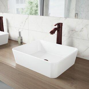 Deals VIGO Matte Stone Rectangular Vessel Bathroom Sink with Faucet By VIGO