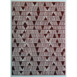 Bargain Rosenthal Brown/White Area Rug By Wrought Studio