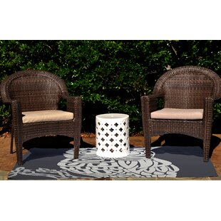 Irvin Hootie Bird Print Hand-Woven Navy Blue Indoor/Outdoor Area Rug