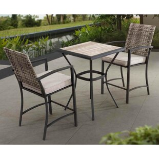 Beau Krull Wicker 3 Piece Bar Height Dining Set With Cushions