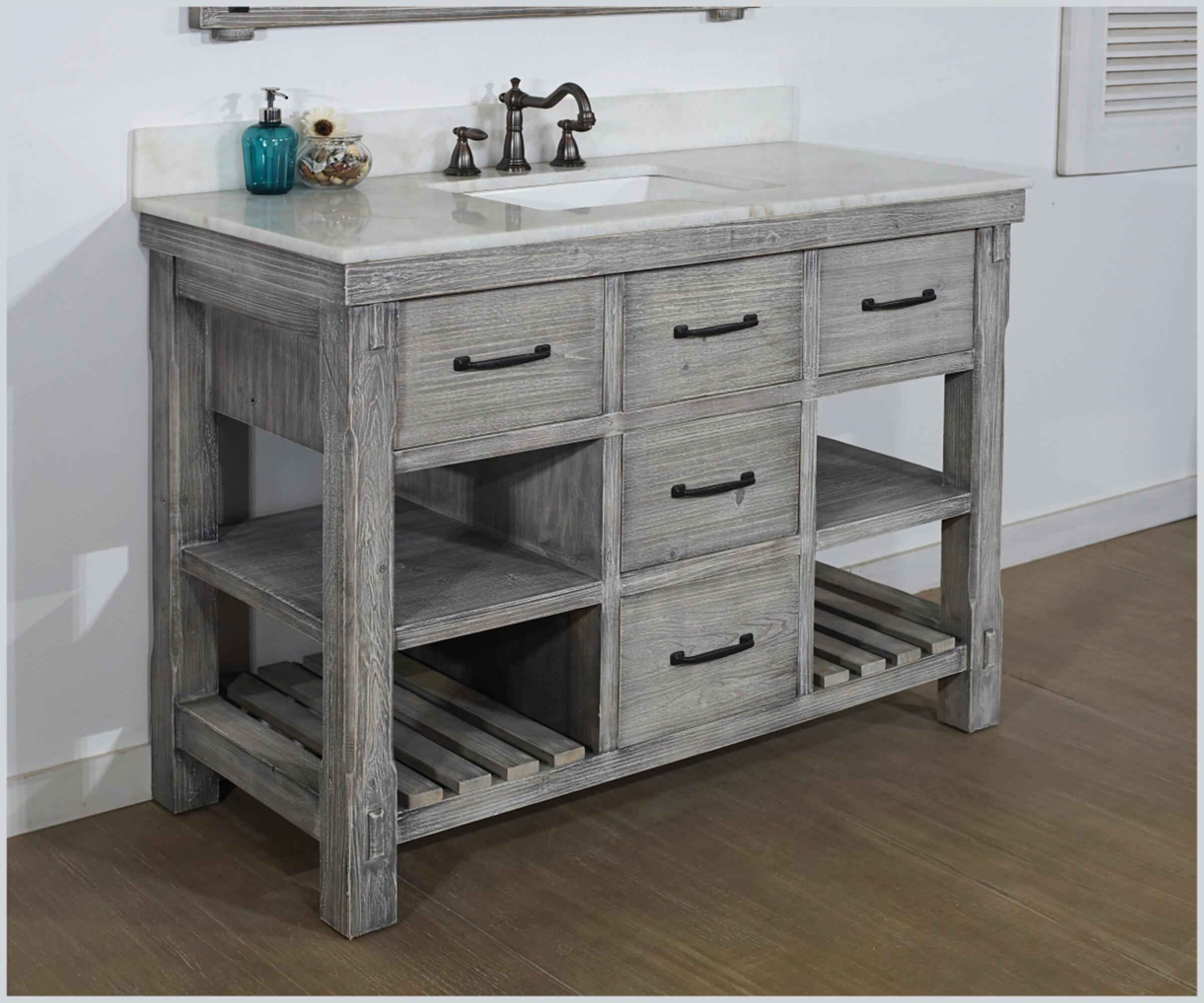 Breakwater Bay Wigington Solid Fir 49 Single Bathroom Vanity Set Wayfair