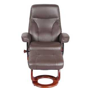 Mélanie Leather Manual Swivel Recliner with Ottoman by Red Barrel Studio