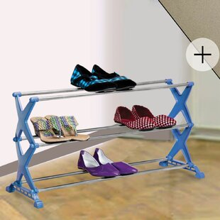 3 Tier 12 Pair Stackable Shoe Rack and Laundry Hamper Rebrilliant