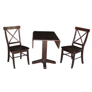 Spraggins Square Dual 3 Piece Drop Leaf Solid Wood Dining Set