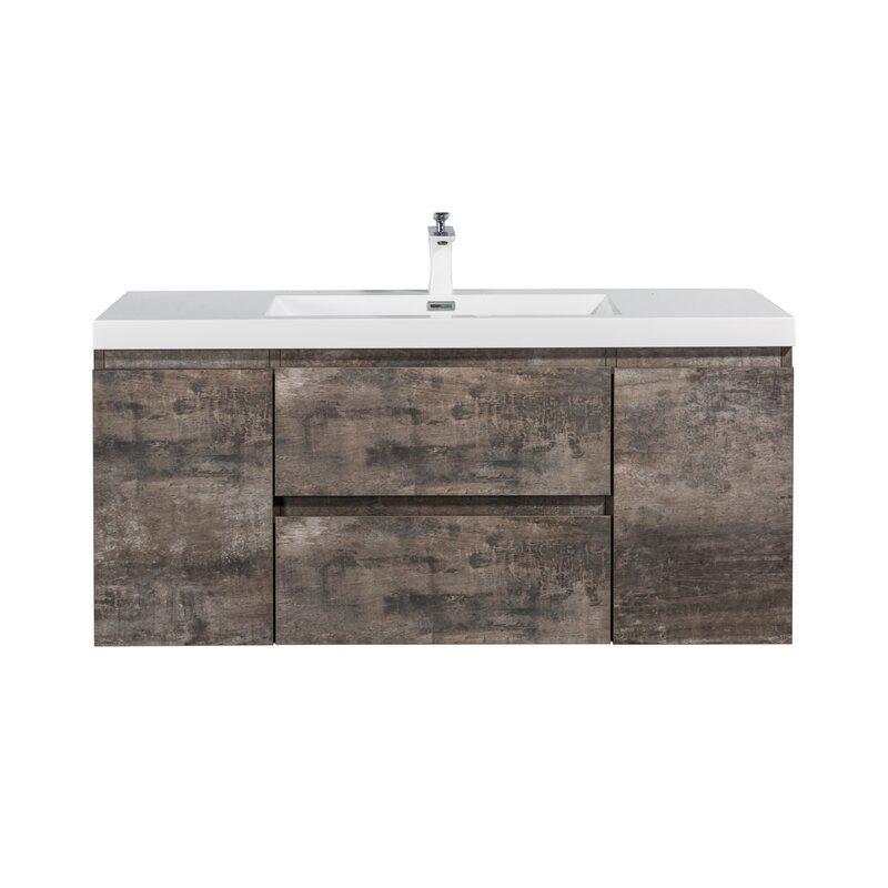 Millwood Pines Liveva 59 Wall Mounted Single Bathroom Vanity Set Wayfair