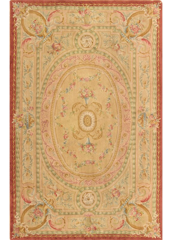 Pasargad One Of A Kind Savonnerie Hand Knotted 2010s 8 11 X 13 9 Wool Area Rug In Beige Perigold