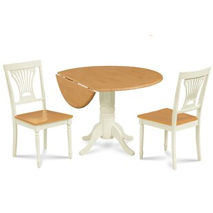 Adelyte 3 Piece Drop Leaf Solid Wood Dining Set August Grove