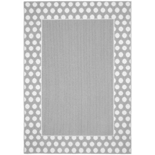 Clearance Polka Dot Frame Silver/White Area Rug By Garland Rug