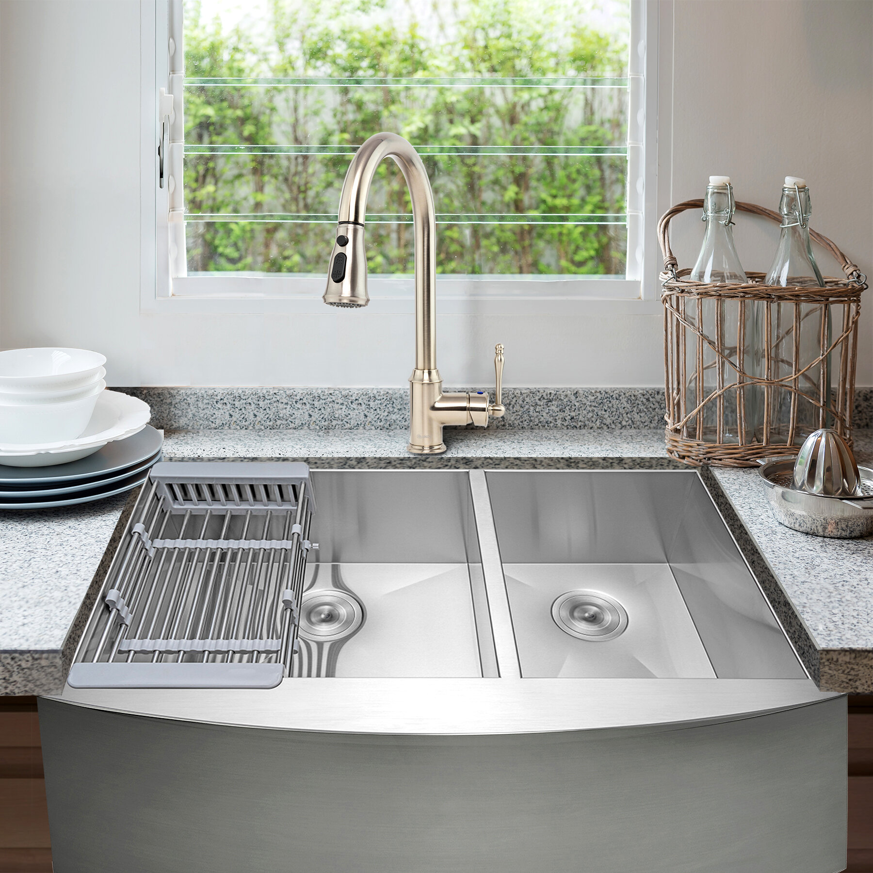 "12"" L x 12"" W Double Basin Farmhouse Kitchen Sink with Faucet"
