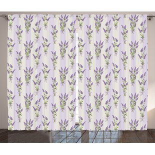 Elina Lavender Stripes and Flowers with Ribbons Romantic Country Home ation Spring Season Design Graphic Print & Text Semi-Sheer Rod Pocket Curtain Panels (Set of 2) by One Allium Way