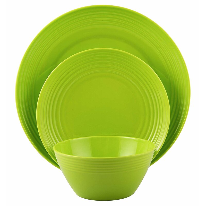 Melange 12 Piece Bamboo Dinnerware Set Rounds Collection Shatter Proof And Chip Resistant Bamboo Plates And Bowls Color Lime Green Dinner Plate Salad Plate Soup Bowl 4 Each Wayfair