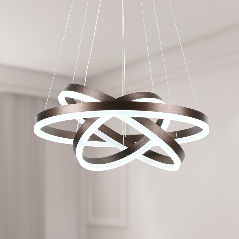 Orren Ellis Salzmann 3 - Light Statement Geometric LED Chandelier