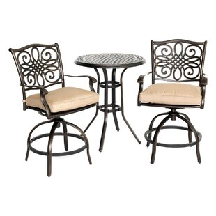 Three Posts Lauritsen 3 Piece Natural Oat Bistro Set with Cushions