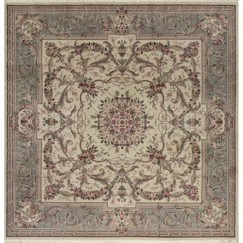 Bokara Rug Co., Inc. One-of-a-Kind Prince Quality Hand-Knotted Square 10 Wool Beige/Green Area Rug