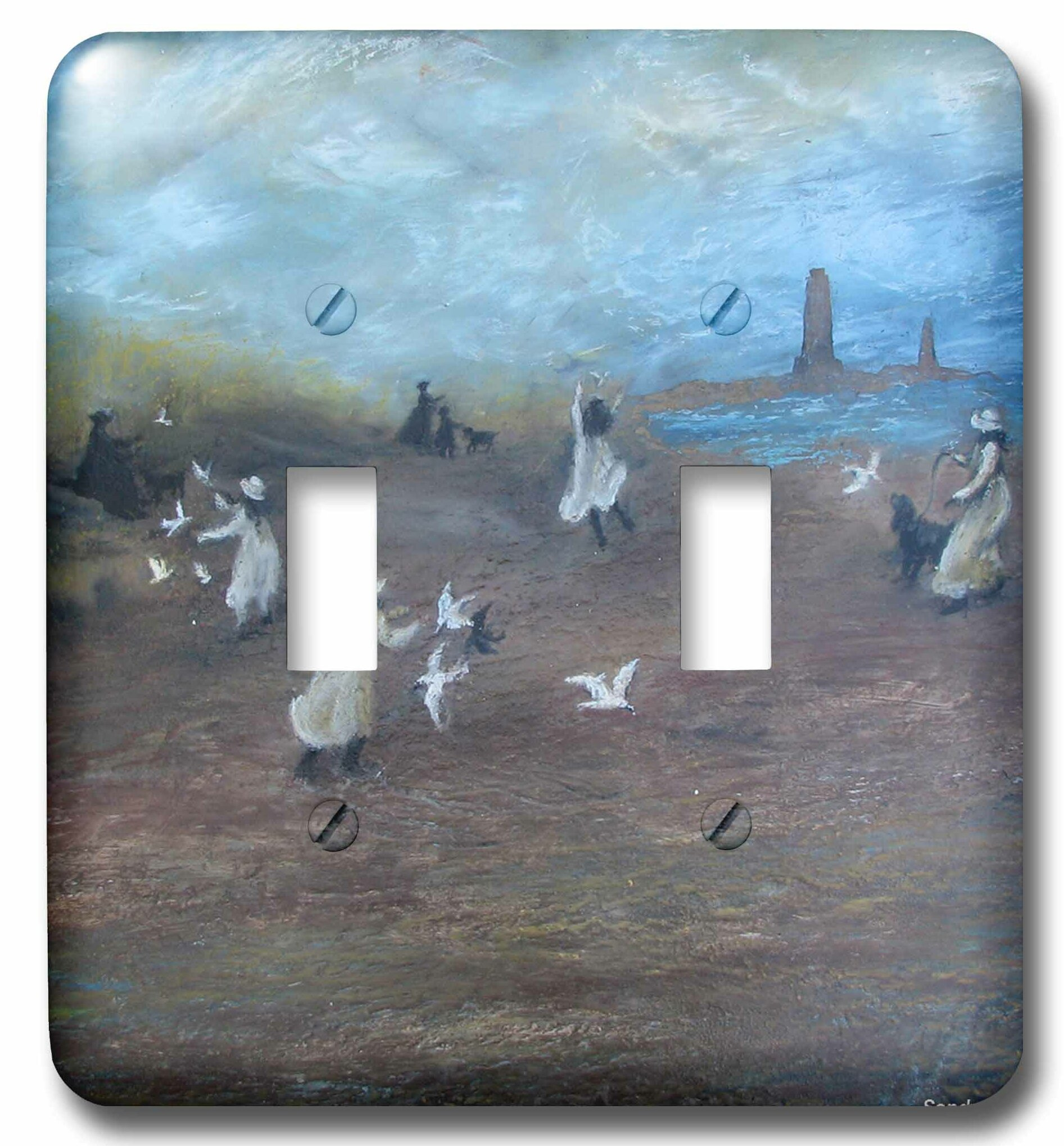 3drose Girls Dogs And Birds On The Beach 2 Gang Toggle Light Switch Wall Plate Wayfair