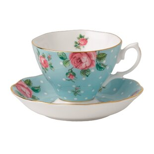 Polka Blue Bone China Teacup and Saucer