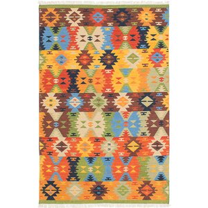 Mamaris Hand-Woven Blue/Orange/Brown Area Rug
