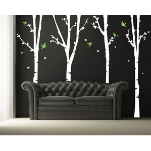 Four Super Birch Trees Wall Decal Part 89