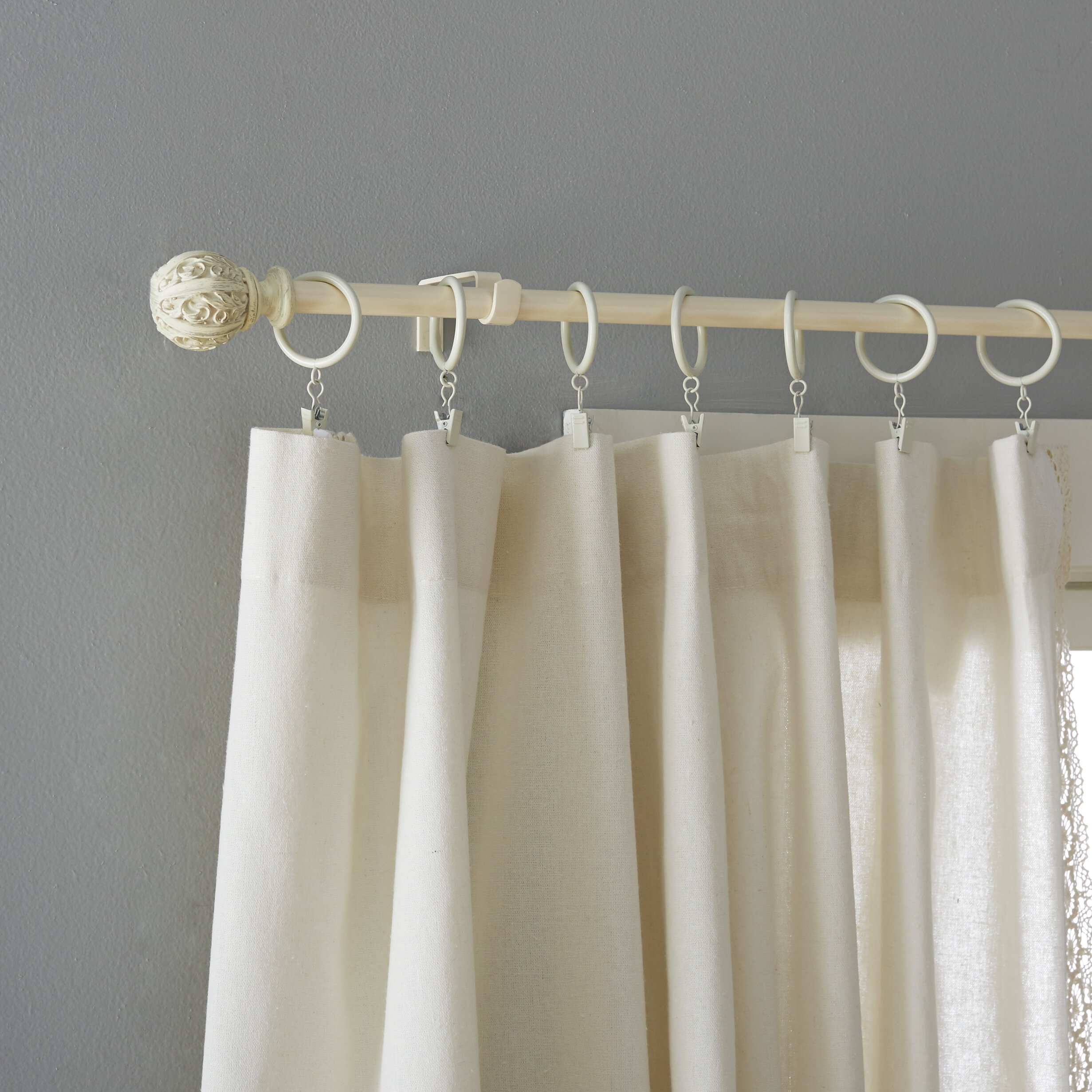 tripartite set to white curtain p rod triple