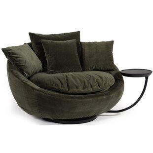 Joleen Modern Round Velvet Swivel Lounge Chair by Brayden Studio Modern