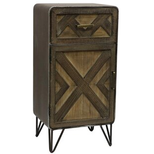 Union Rustic Delicia Wood and Metal 1 Drawer Accent Cabinet