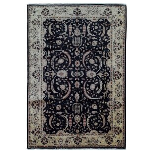 Deals One-of-a-Kind Pearle Traditional Oriental Hand Woven Wool Black Area Rug By Isabelline