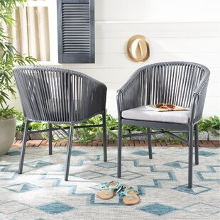 Seppe Rope Stacking Patio Dining Chair with Cushion (Set of 2)