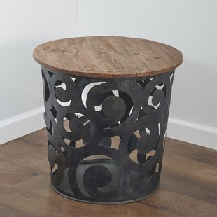 Outdoor/Indoor Drum Spiral Metal Side Table