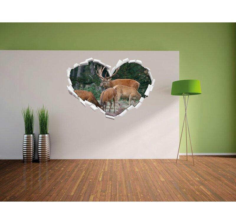 Pixxprint Wandtattoo Hirschfamilie Auf Waldlichtung Wayfair De