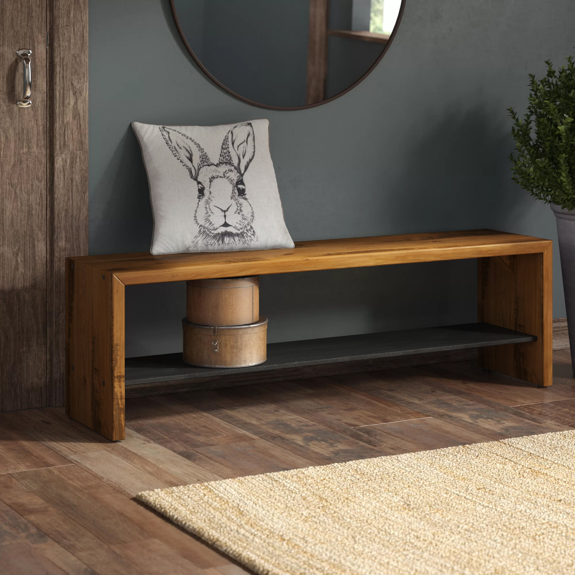 Loon Peak Arocho 58 Wood Storage Bench Reviews Wayfair